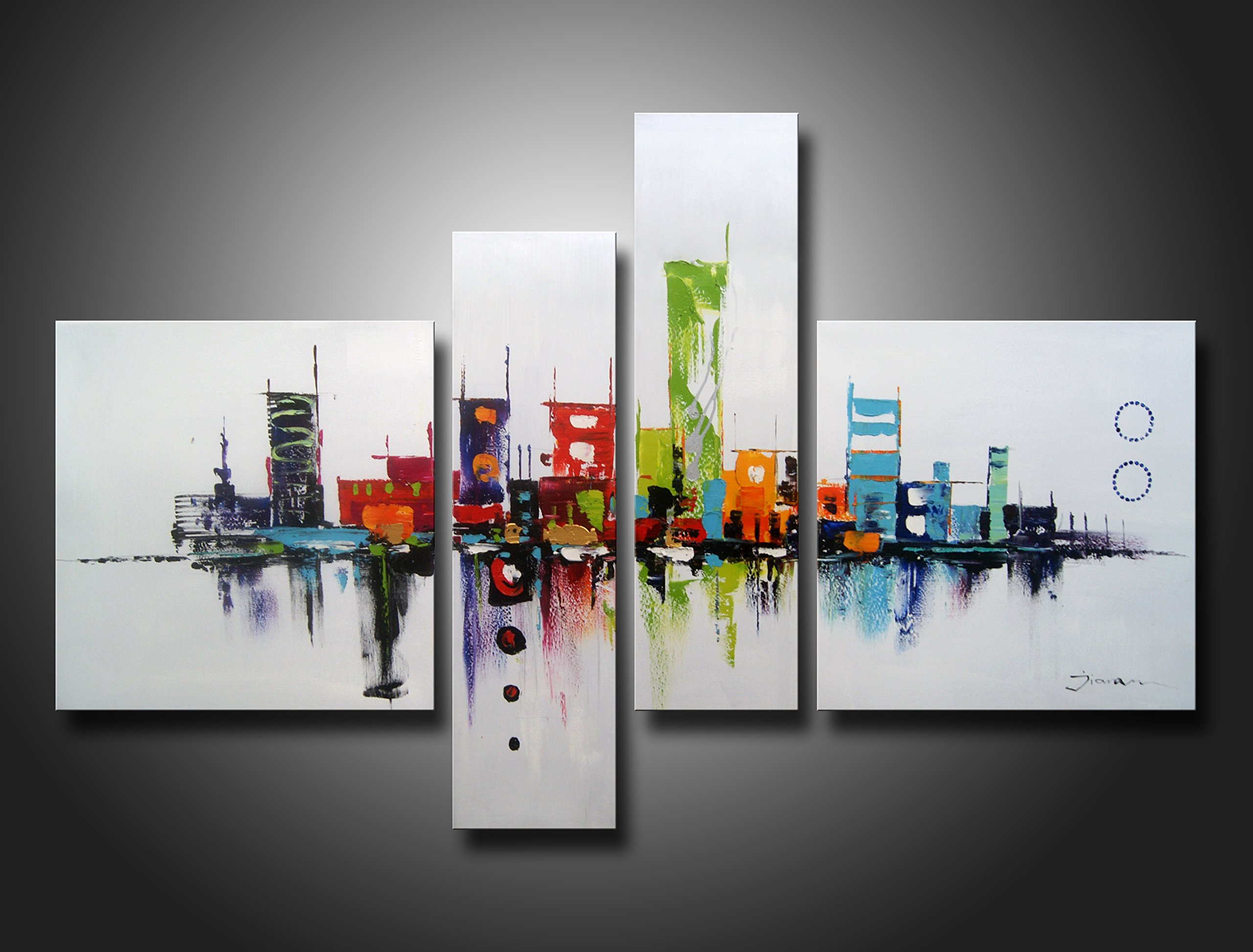 Ode-Rin Art Christmas Gift 100% Hand Painted Modern Oil Paintings Colorful World My Furture Splice 4-piece Wall Decoration-14x14Inchx2pcs,6x20Inchx2pcs