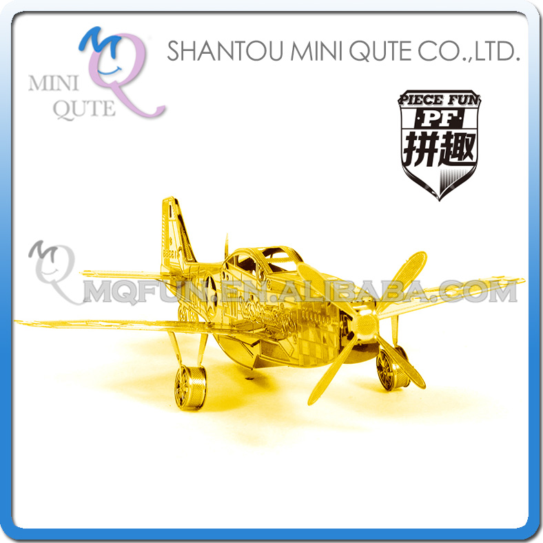 Piece Fun 3D Metal Puzzle military Gold P-51 Mustang helicopter Adult assemble model educational toys NO GLUE NEEDED NO.PF 9114