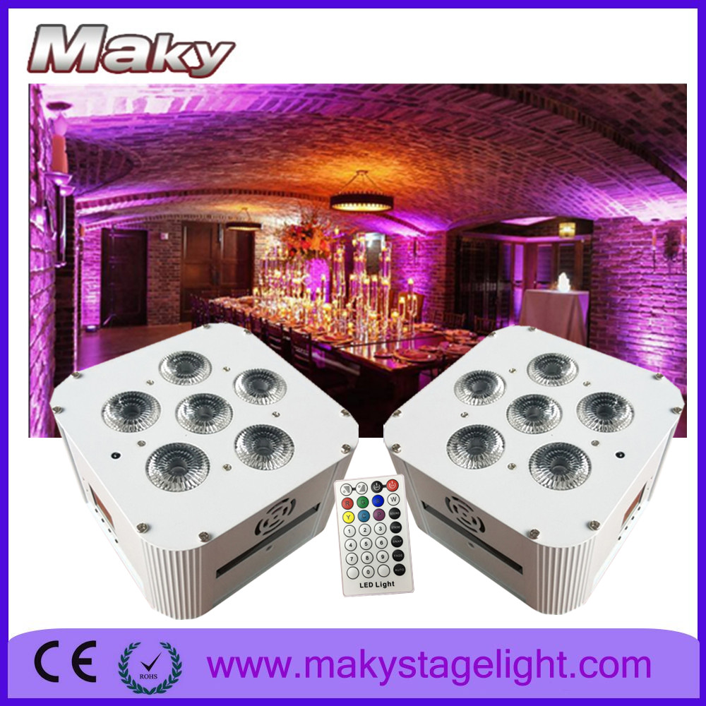 MAKY MQ-G119 6*18W battery powered wireless dmx RGBWA UV 6in1 stage effect led wall wash lighting for wedding