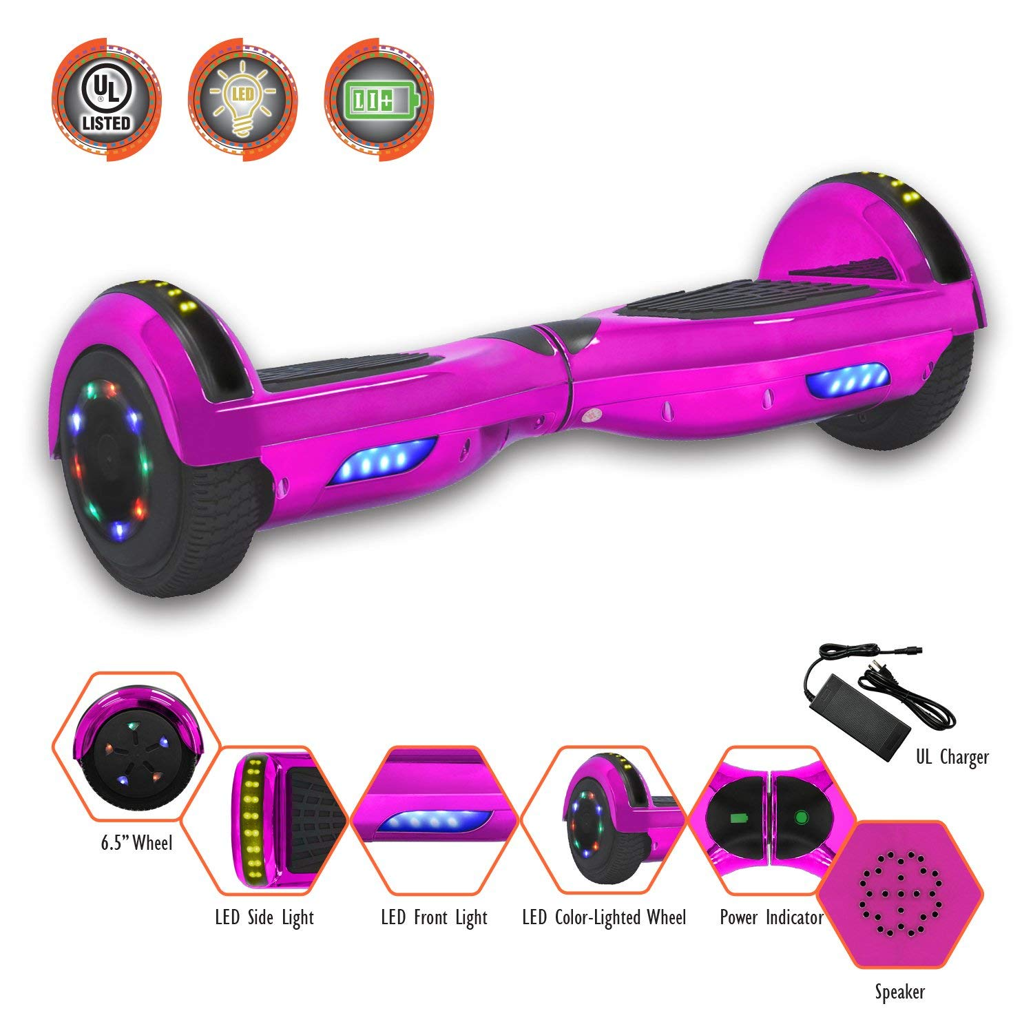 "SMART BALANCE 6.5"" HOVERBOARD WITH BLUETOOTH - UL 2272 - UN 38.3 SAFETY CERTIFIED PERSONAL TRANSPORTATON"