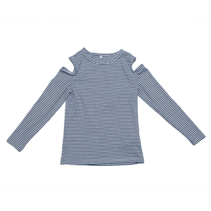 Newest design top fashion striped tshirt kids girl long sleeve t shirts