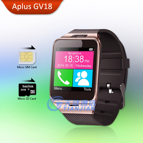 2015 Health Bluetooth Android Smart Watch Waterproof Camera GSM Smartphone Mobile Phone Smartwatch Support SIM Card Aplus GV18
