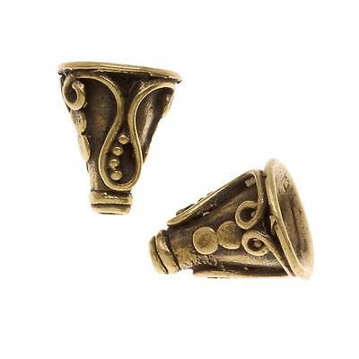 15mm Ottone Anticato Placcato Scroll Campana Beads Cono