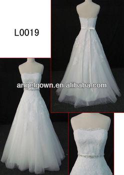 Strapless Heart Shaped Neckline Lace Patterns A Line Wedding Dress