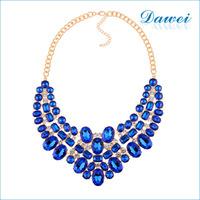 2016 Fashionable New Design blue Crystal Rhinestone Chunky Necklace