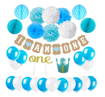 First Birthday Decoration Set For Boy 1st Baby Party Hat Gold CrownCake Topper OneI Am One Banner