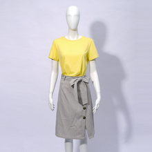 2019 di Estate di Modo Femminile Solido T <span class=keywords><strong>Shirt</strong></span> e Plaid di Stampa A Vita Alta <span class=keywords><strong>Donna</strong></span> Casual Suit Set Midi Gonna