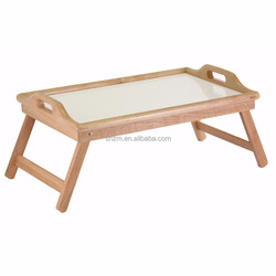 Bamboo Home Server Tray with Locking Legs,Bamboo Bed Breakfast Trays Table Set with Folding Legs