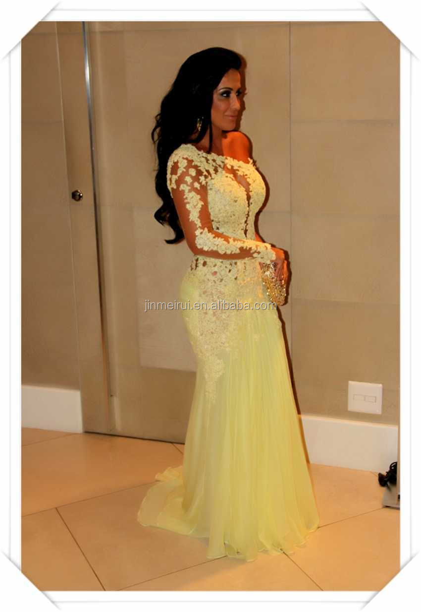 Ustom Backless One Shoulder Long Sleeve Mermaid Sexy Lace Designer Celebrity Dress Prom Gown Yellow Evening Dresses Buy Evening Dressesevening