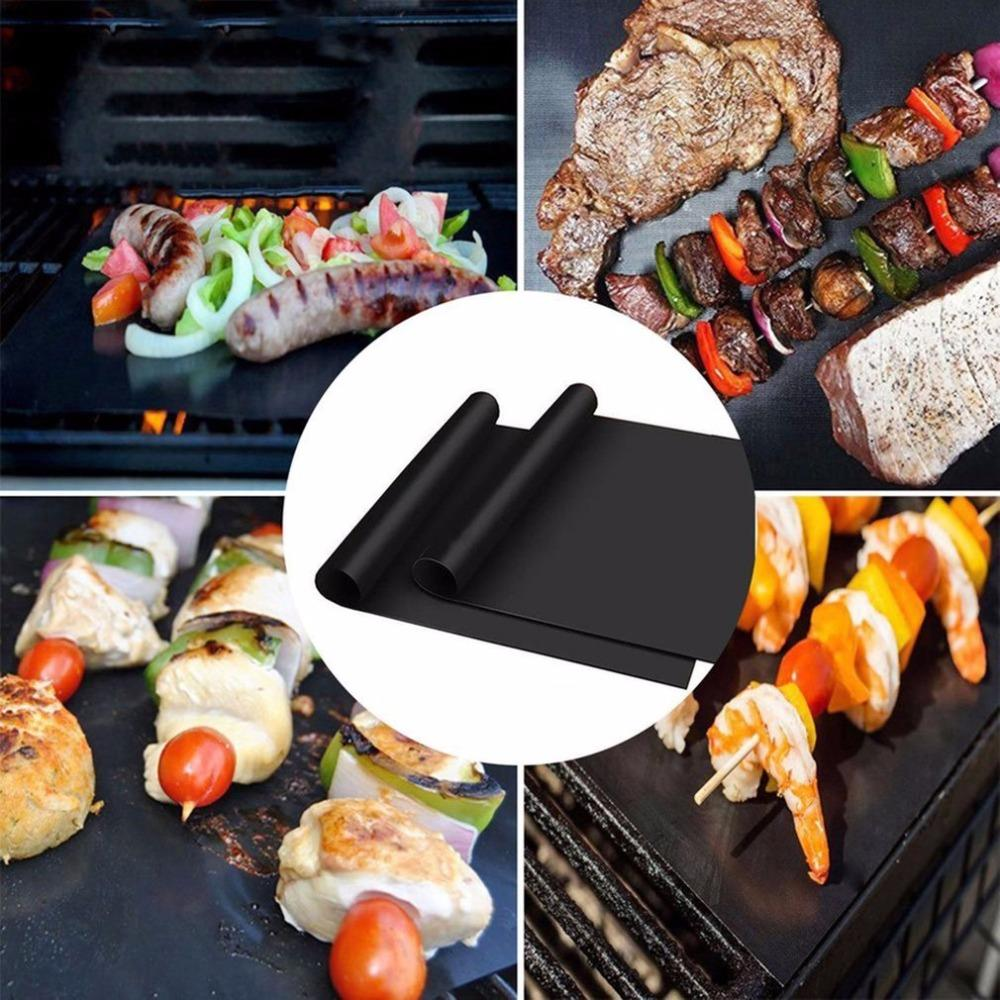 Discounted 0.2mm thickness ptfe 100% non-stick teflon bbq grill mat set of 5 for barbecue