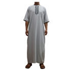 2019 hot sell high quality India Saudi Arab Islamic short sleeves muslim wear clothing tunic Men Thobe