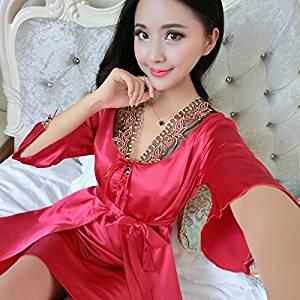 be36997bd9 Get Quotations · XH G Ladies silk silk bathrobe Pajamas strap