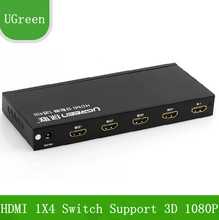Free Shipping UGreen HD HDMI Switch 1X4 HDMI Distributor Support 3D 1080P For HDTV / Projector