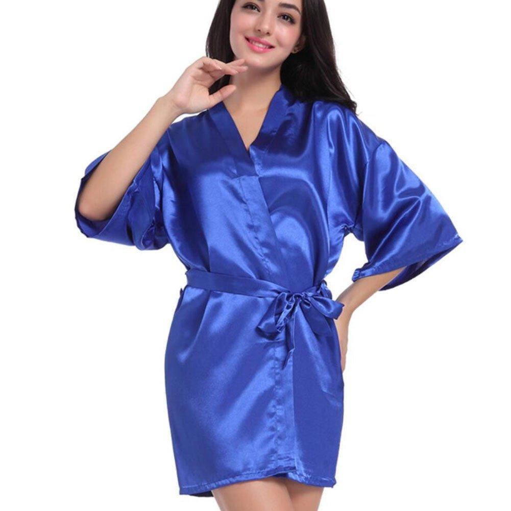 94366c2101 Get Quotations · Bathrobe Ladies Silk Satin Bathrobe Tie Waist Long Kimono  Relaxed And Confortable Home Hotel Spa Bathrobe