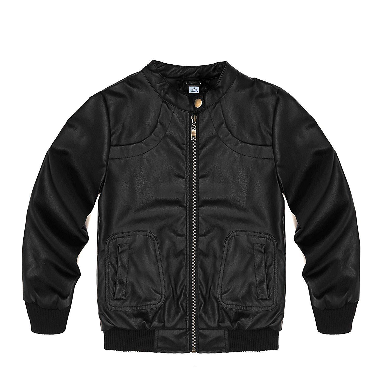 Kemeella Toddler Girls Leather Motorcycle Moto Jacket Kids PU Leather Coat 5T