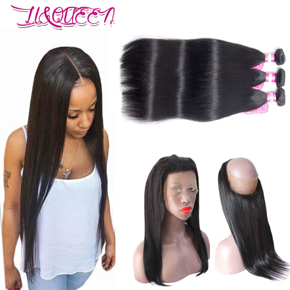 360 Lace Frontal With Bundles Brazilian Straight <strong>Hair</strong> With Closure Straight <strong>hair</strong> 3 Bundles Human <strong>Hair</strong> With Lace Frontal Closure