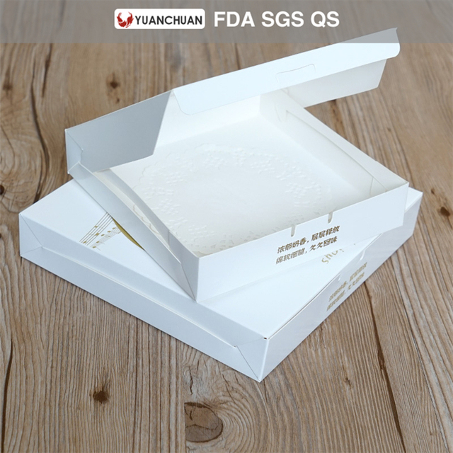 suqre shaped window carton box for cheese cake