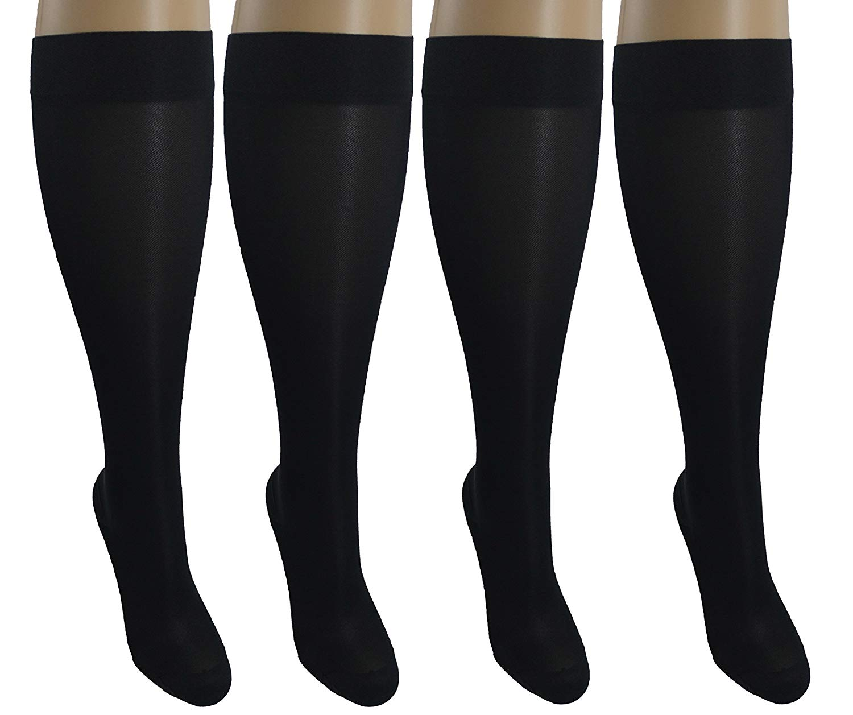 4 Sheer Pair Small/Medium Ladies Compression Socks, Moderate/Medium Graduated Compression 15-20 mmHg. Nurses, Work, Therapy, Travel & Flight Knee-High Hosiery. Color: Black