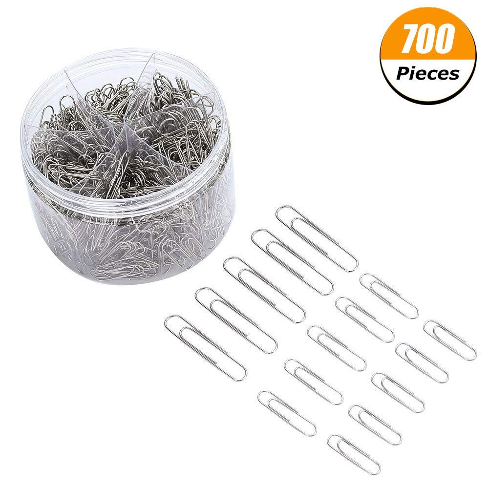 Feihoudei Paper Clips Medium and Jumbo Size, 500 Pieces (28 mm, 50 mm) (Silver)
