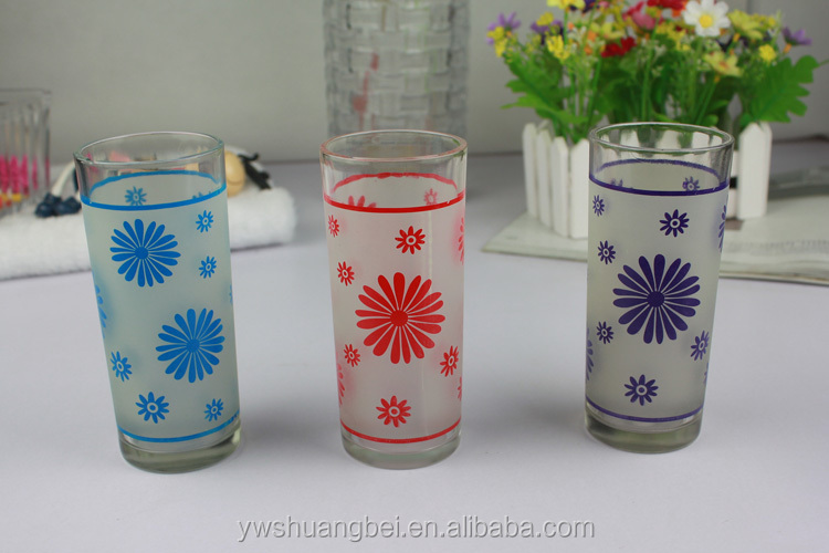 Household Goods Printing Cheap Glass Cup Wholesale Drinking 7pcs ...
