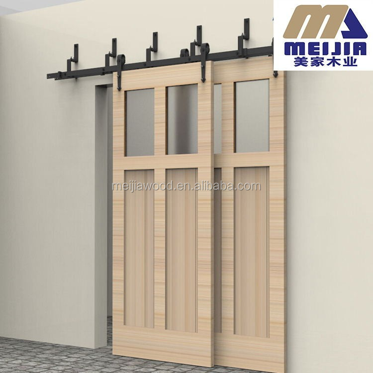 Two Panel Byp Interior Gl Window And Barn Door With Sliding Hardware
