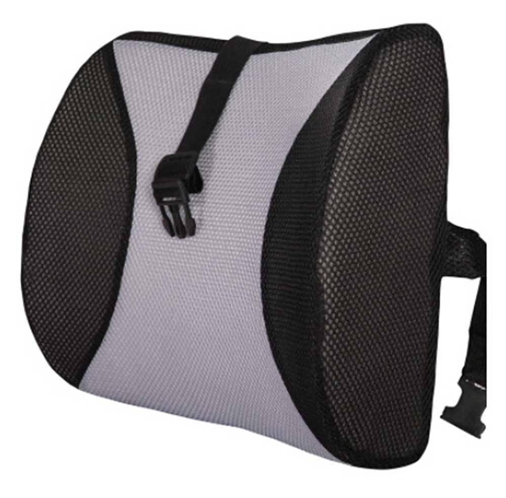 Moyishi Black and Gray High Resilient Memory Foam Seat Back Lumbar Cushion Support Pillow Car Office Chair Back Support