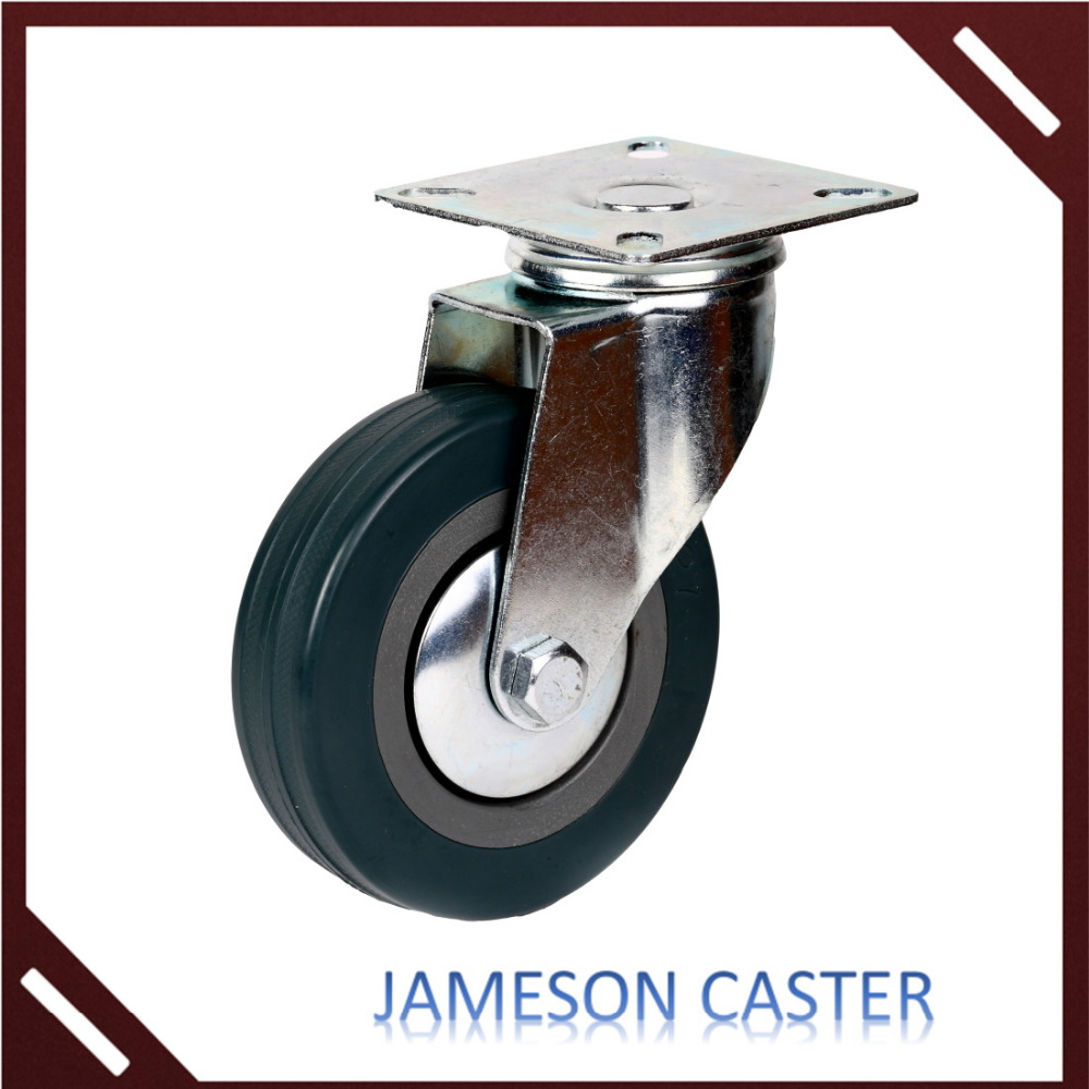 100mm Gray PU swiveling caster with brake industrial roller caster wheels,guangdong casters