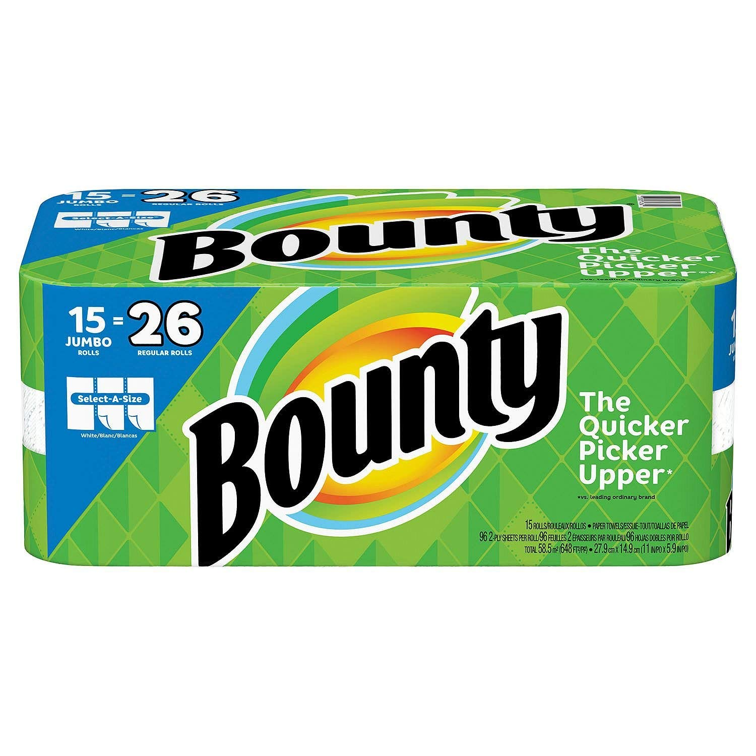 Bounty Select-a-Size Paper Towels, White, Huge Roll (15 Count, Jumbo Rolls)