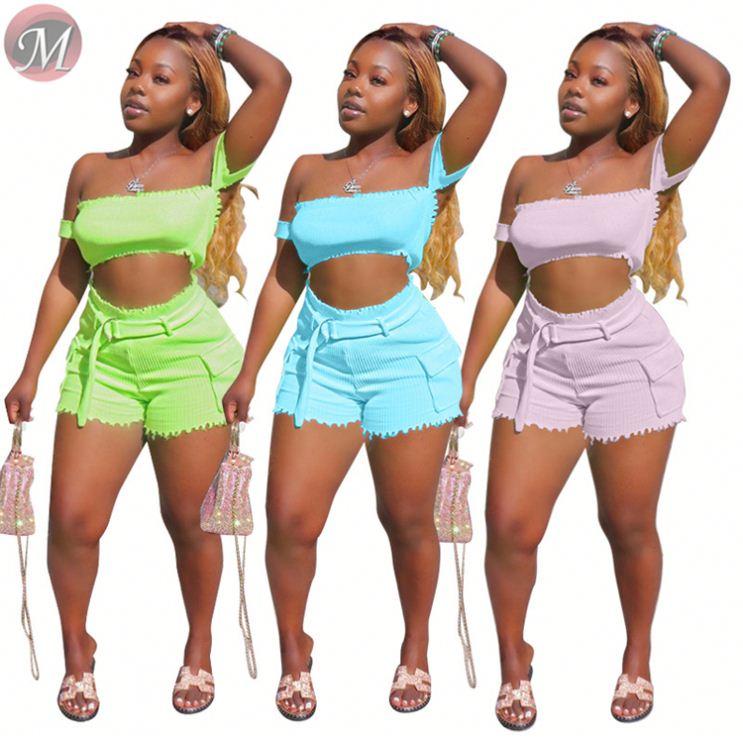 9060627 queenmoen чистый Флуоресцентный цвет Лидер продаж леди шорты штаны с топ комплект из двух предметов женская одежда