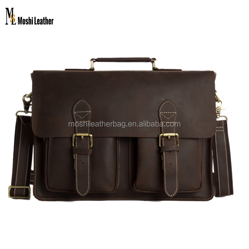 0344 100% 15 inch Genuine Leather Laptop Bag with Inside Padded Insert