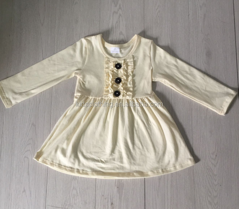 ivory color soild dress 2018 smocked frocks designs cheap price baby spring dress