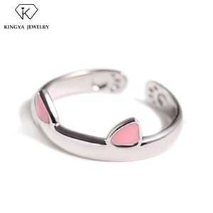 Simple open cat jewelry pussy ring set for women