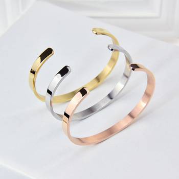 18k Vacuum Gold Stainless Steel Custom Name Cuff Bangle Engraved Inspirational Mantra Personalized Bracelet