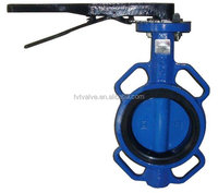 High quality wafer type ductile iron butterfly valve with gear lever actuator