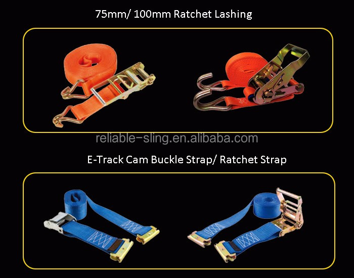 25mm 4m J Hook Ratchet Cargo Lashing Belt with 800kg Breaking Strength