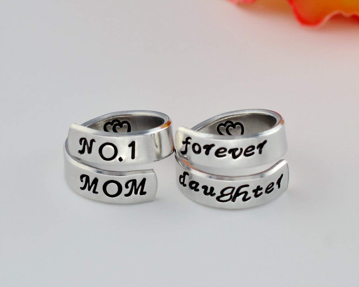 No.1 Mom/forever daughter - Hand stamped Aluminum Spiral Wrap Rings Set of 2, Best Mom, Forever Love, Mother's Day Gift