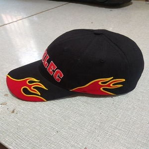 custom men cotton 6 panels flame baseball caps hats