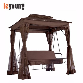 Outdoor 3 Person Patio Daybed Canopy Gazebo Swing Bed With Mesh Walls  Mosquito Net