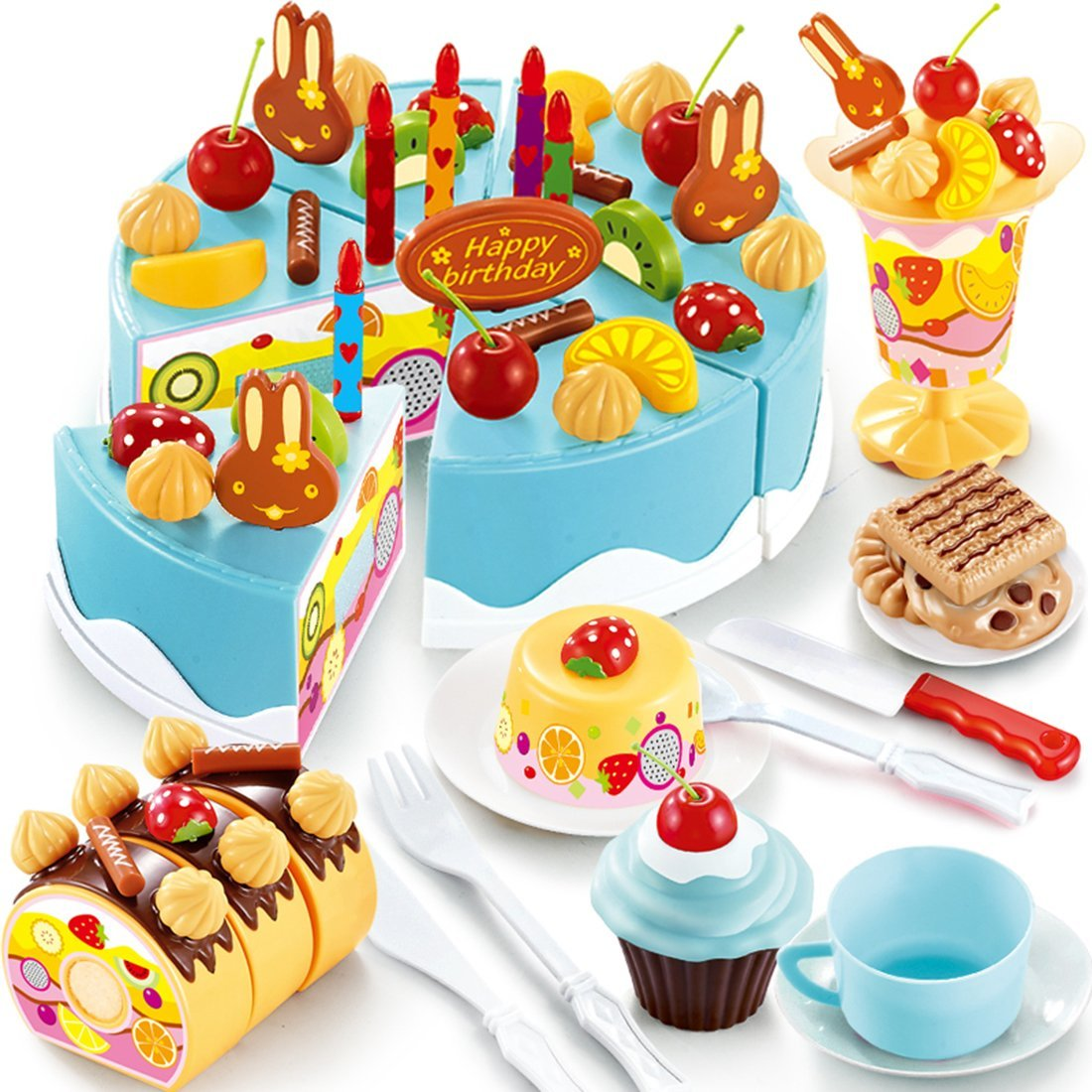 Buy ZUINIUBI 75Pcs Plastic Kitchen Cutting Toy Birthday Cake Pretend ...