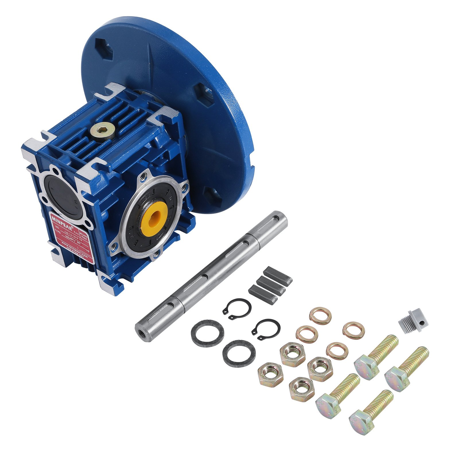 Happybuy Speed Reducer Ratio 15/1 56C Worm Gear Speed Reducer with Double Shaft High Torque Worm Gear Reducer Perfect for Electric Door Mini Crane Hoist