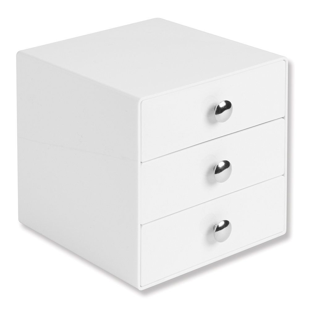 Get Quotations · InterDesign 3 Drawer Storage Organizer For Makeup, Beauty  Products, Office Supplies, White