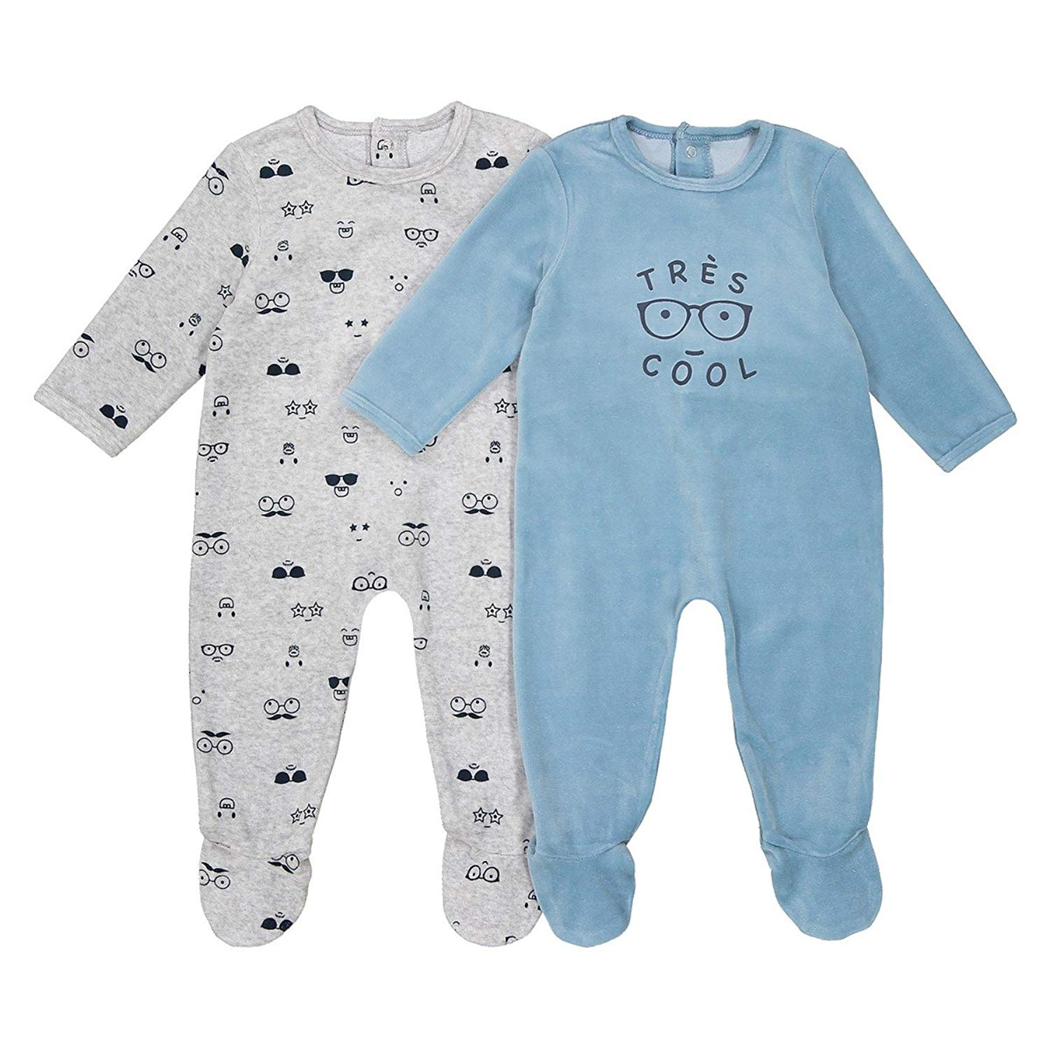 22c5ff119 Get Quotations · La Redoute Collections Big Boys Pack of 2 Printed  Sleepsuits