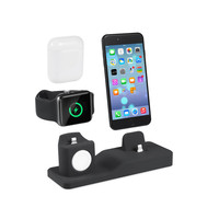 3 in 1 Premium Silicone Charger Dock Station Holder for Apple Watch for iPhone for AirPod , for Apple Watch Charging Stand