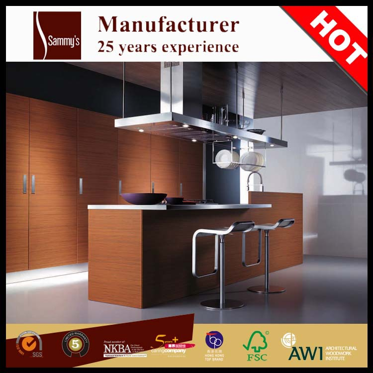Kitchen Cabinets Factory: Luxury Kitchen Island Pre Assembled Mahogany Wood Kitchen