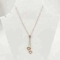 2019 Hot Sale Popular Mini Double Heart Pendant Stainless Steel Necklace For Girlfriend Gift