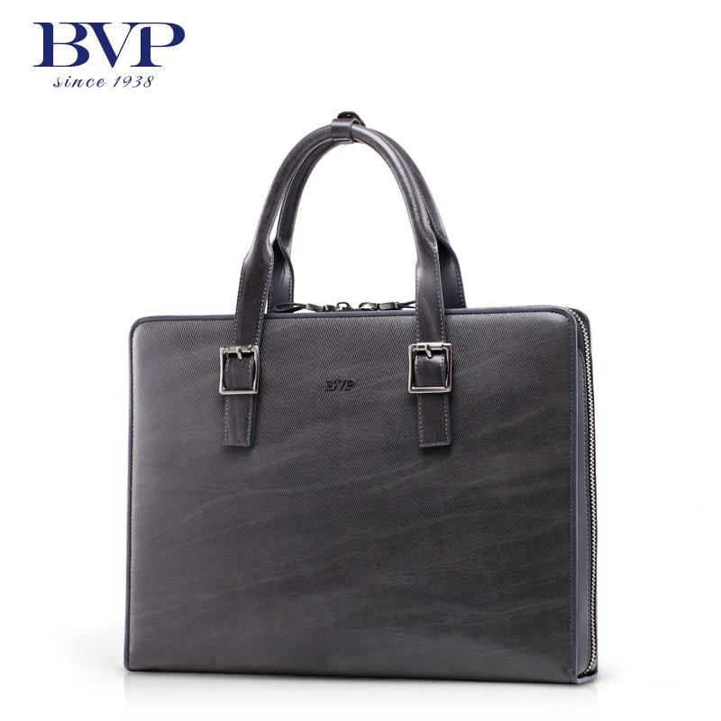 de0dd543faba Get Quotations · BVP high-end men s stripe genuine real leather vintage  briefcase laptop attache portfolio document file