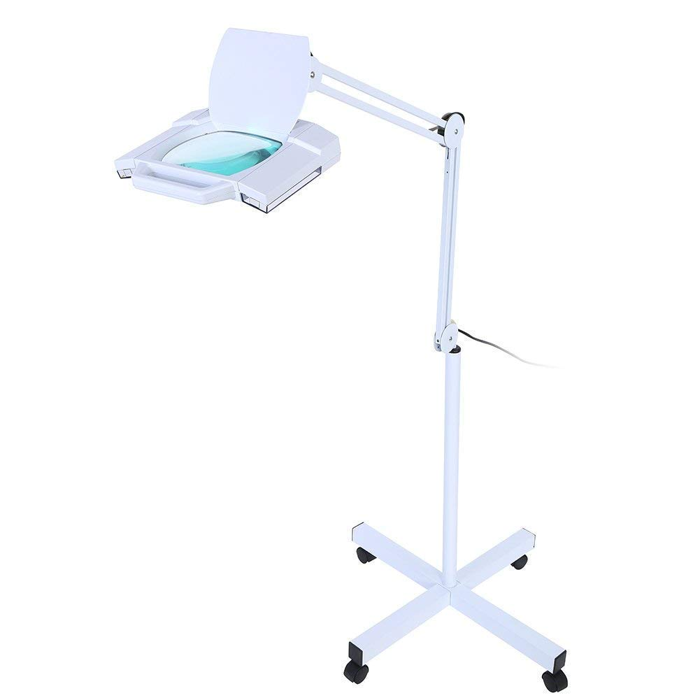 Led Magnifying Floor Lamp, Adjustable Swivel Arm 5X Magnifier Lamp Light For Skincare Beauty Manicure Tattoo Salon Spa