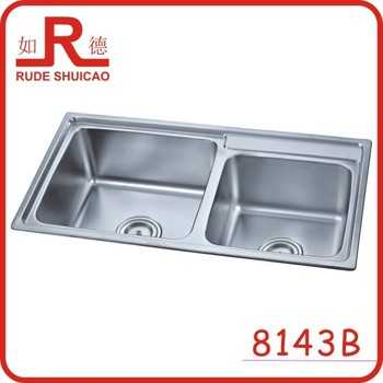 Best Discount Double Bowl 201 Kitchen Stainless Steel Sink 8143B