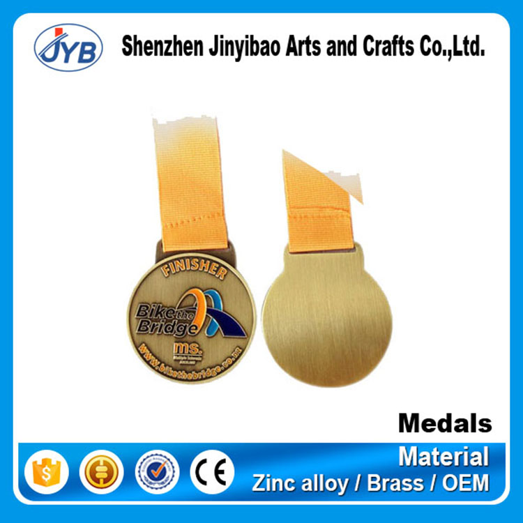 Bronze sports award medallion custom bike finisher medals and awards