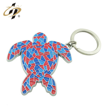Custom alloy casting silver metal enamel colorful holiday keychain